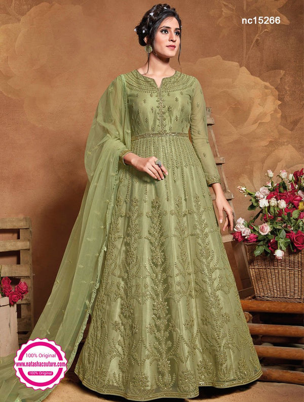 Green Net Anarkali Suit NC15266