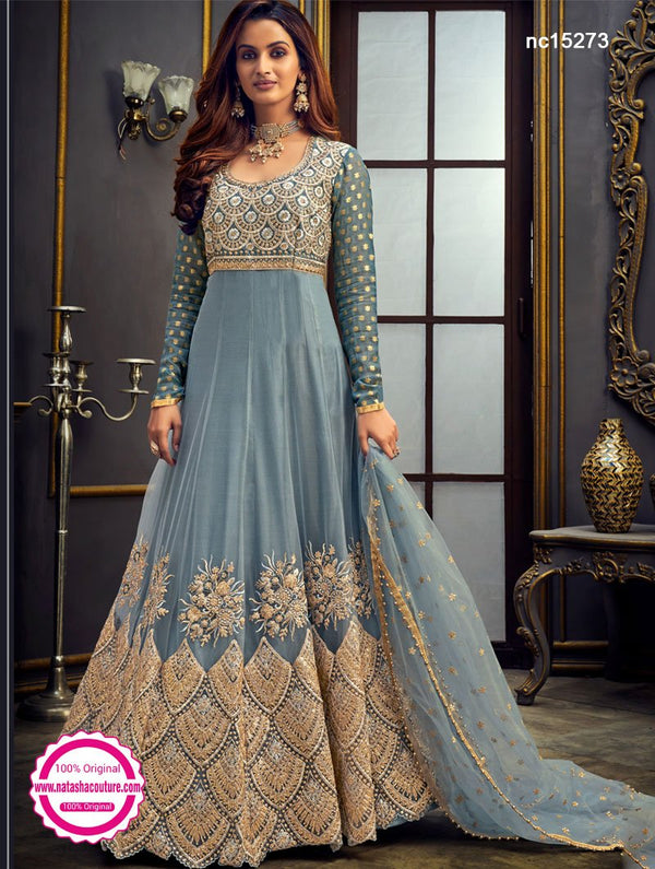 Greyish Blue Georgette Anarkali Suit NC15273