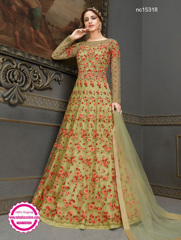 Green Net & Silk Anarkali Lehenga NC15318