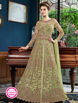 Green Net & Satin Anarkali Lehenga NC12857B
