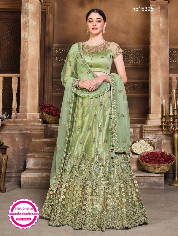 Green Net & Satin Silk Lehenga Choli NC15325