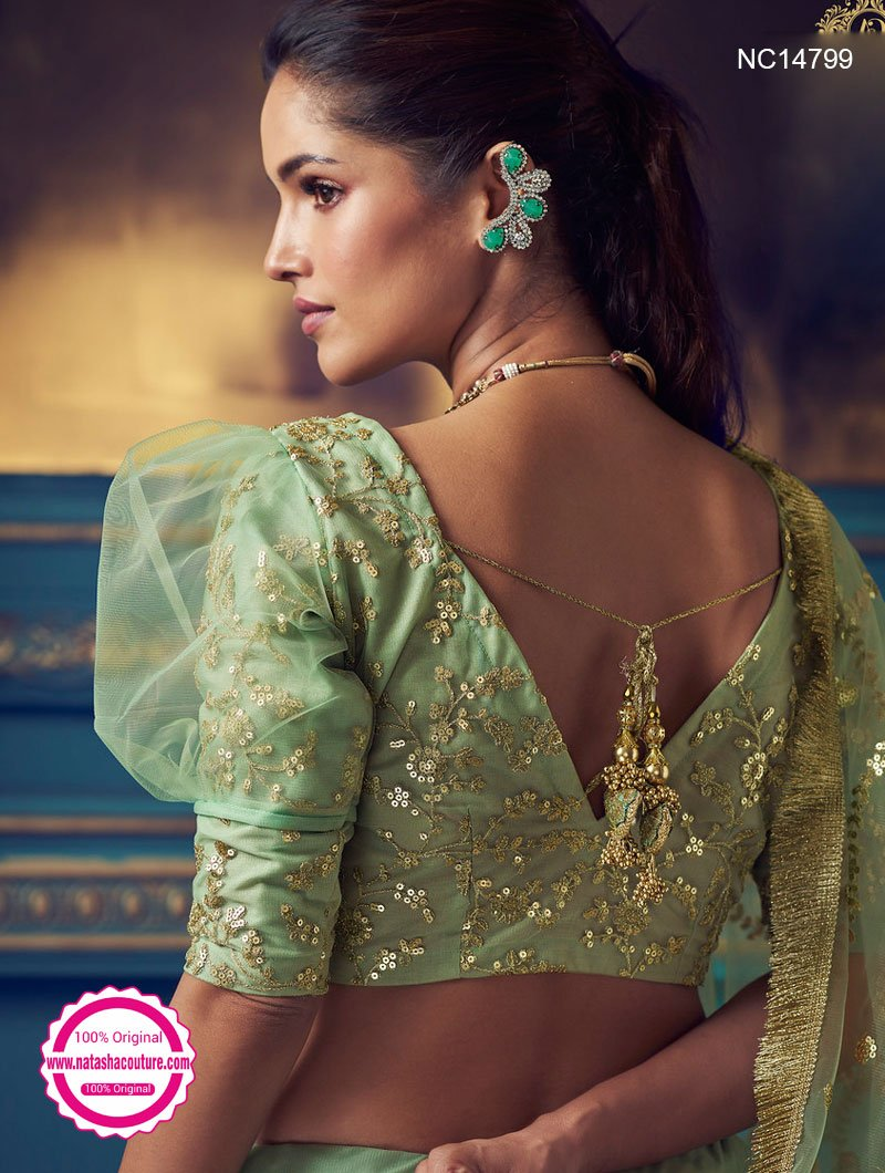 Green Net Sequins Lehenga Choli NC14799