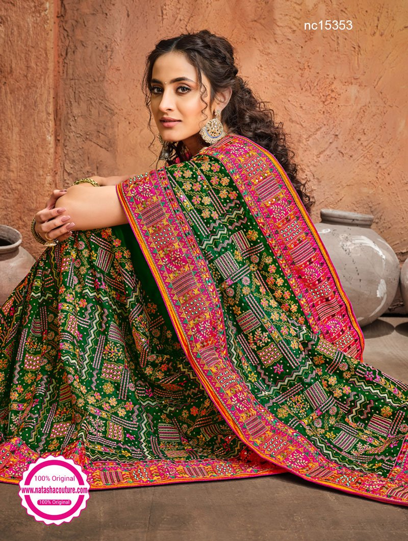 Green & Pink Banarasi Silk Saree NC15353