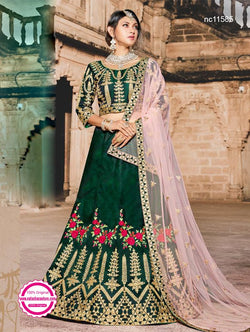 Green Pure Silk Lehenga Choli NC11585