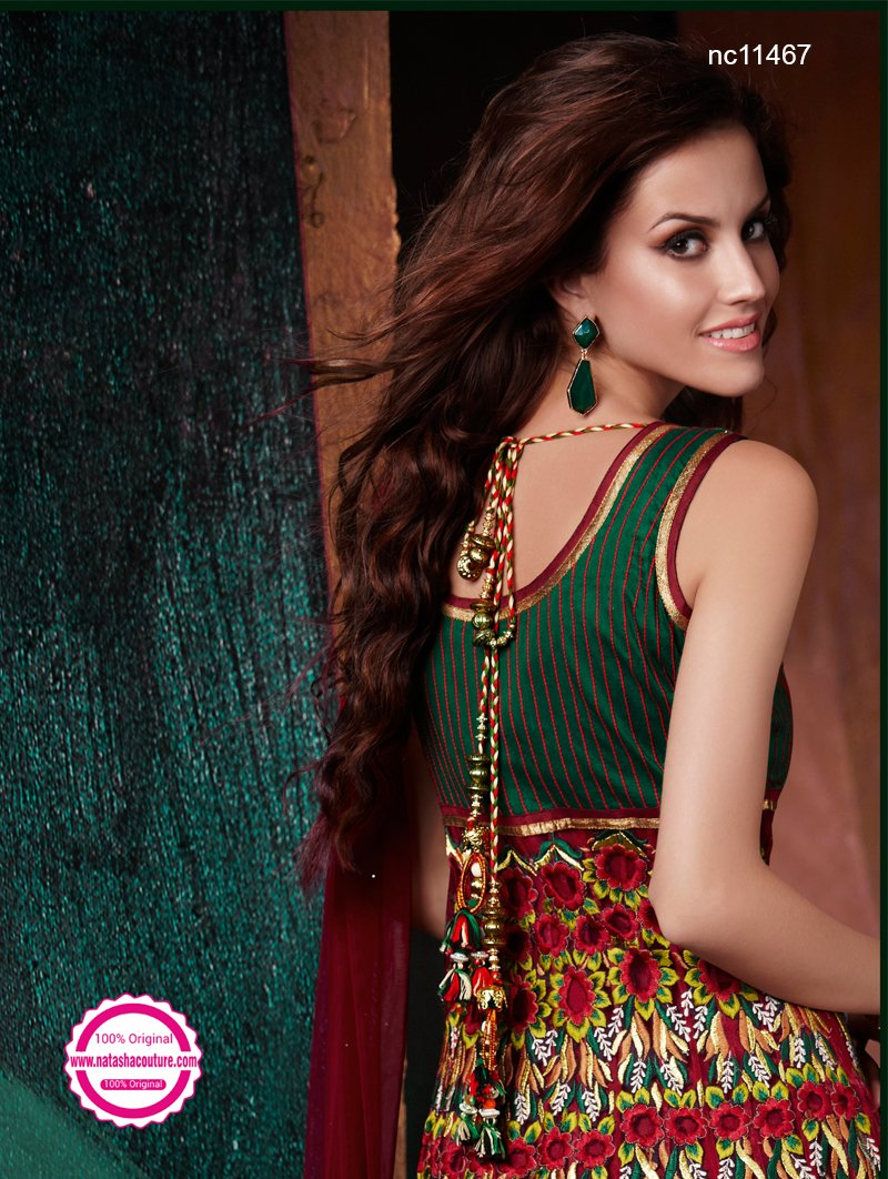 Green & Red Net & Silk Readymade Anarkali NC11467