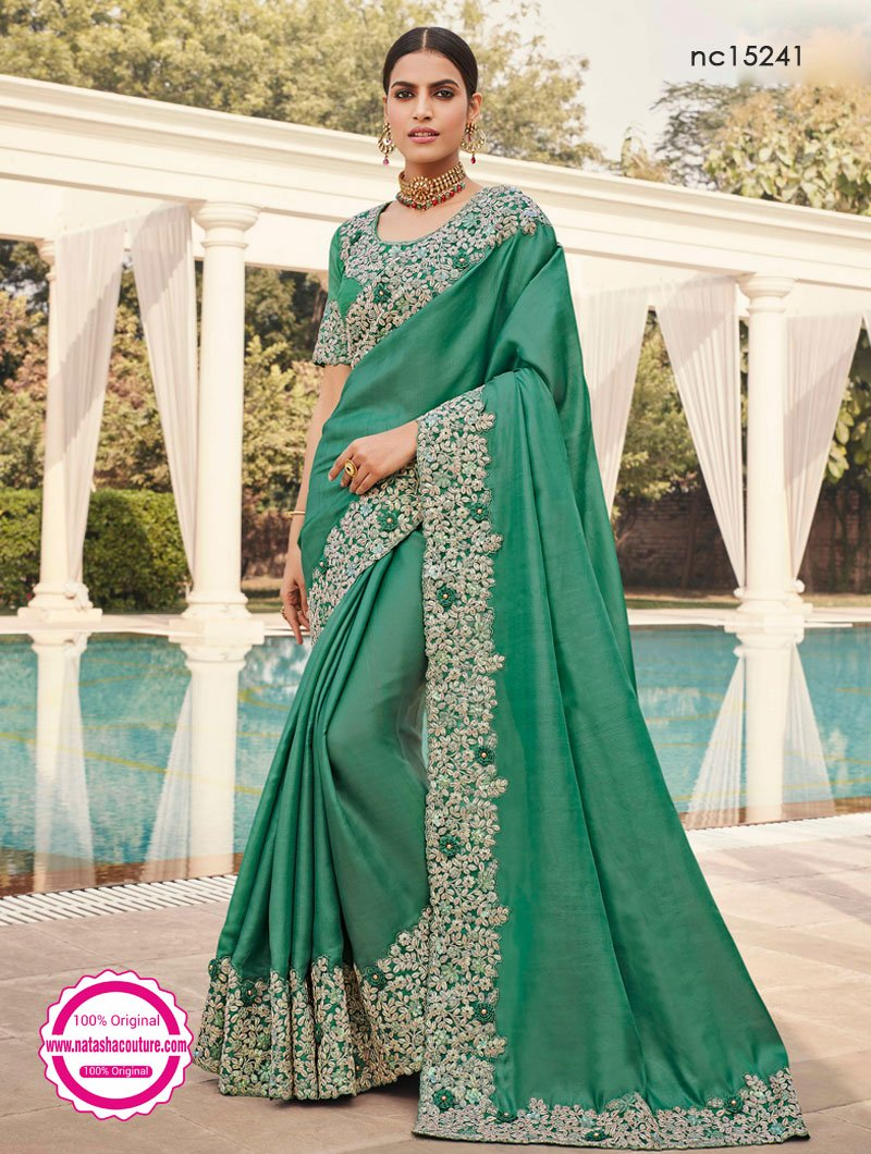 Green Satin Georgette Designer Saree NC15241
