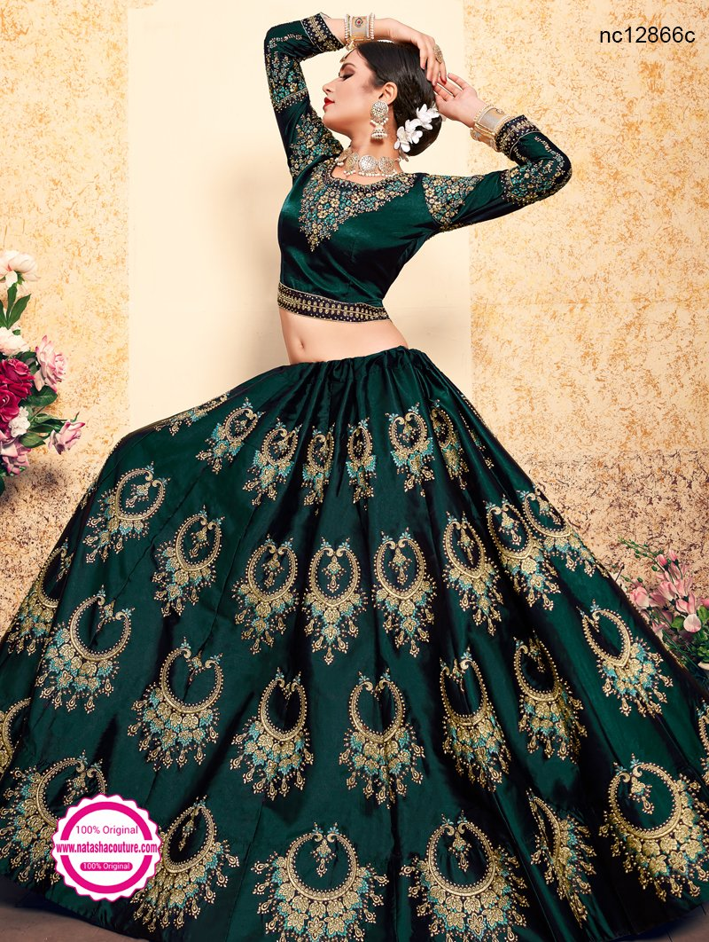 Green Satin Lehenga Choli NC12866C