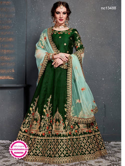 Green Satin Silk Lehenga Choli NC13488