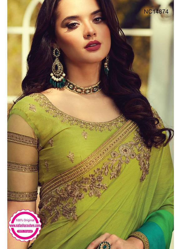 Green Shaded Silk Saree NC14874