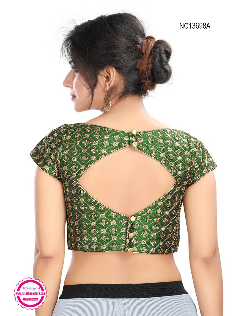 Green Silk Embroidered Readymade Blouse NC13698A