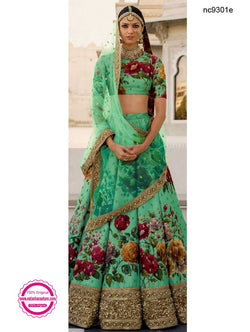 Green Silk Floral Bollywood Lehenga Choli NC9301E