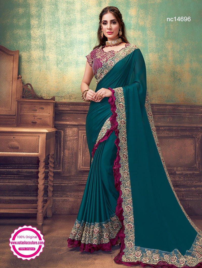 Green Silk Georgette Saree NC14696