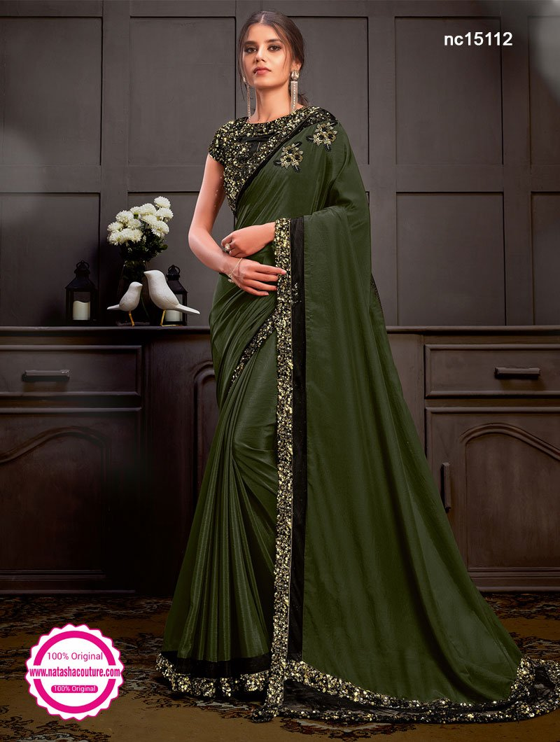 Green Silk Georgette Saree NC15112