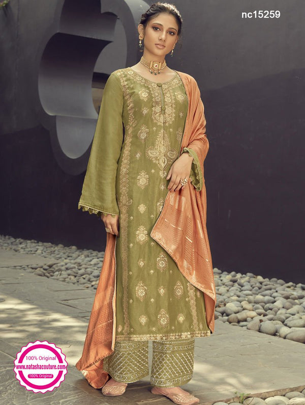 Green Silk Jacquard Palazzo Suit NC15259