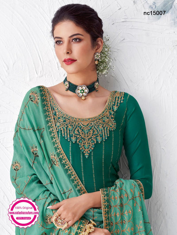 Green Silk Palazzo Suit NC15007