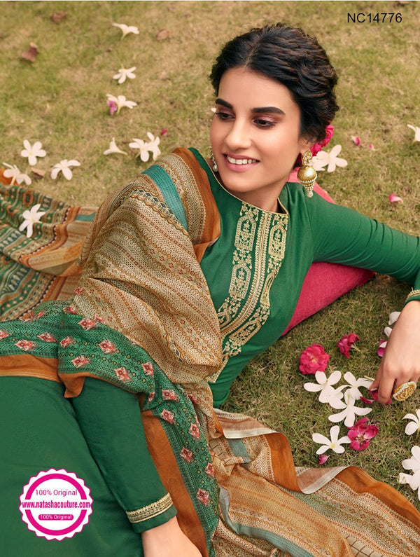 Green Tussar Silk Palazzo Suit NC14776