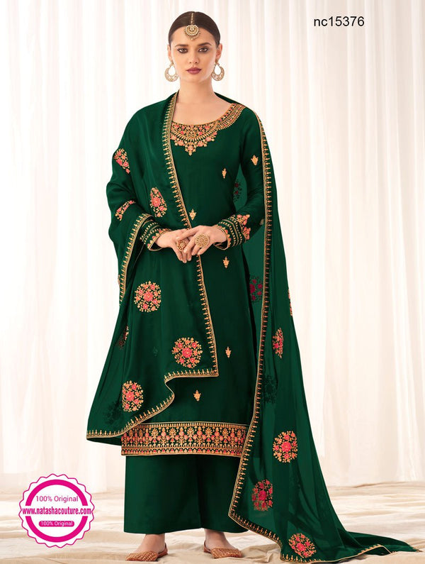 Green Tussar Silk Palazzo Suit NC15376