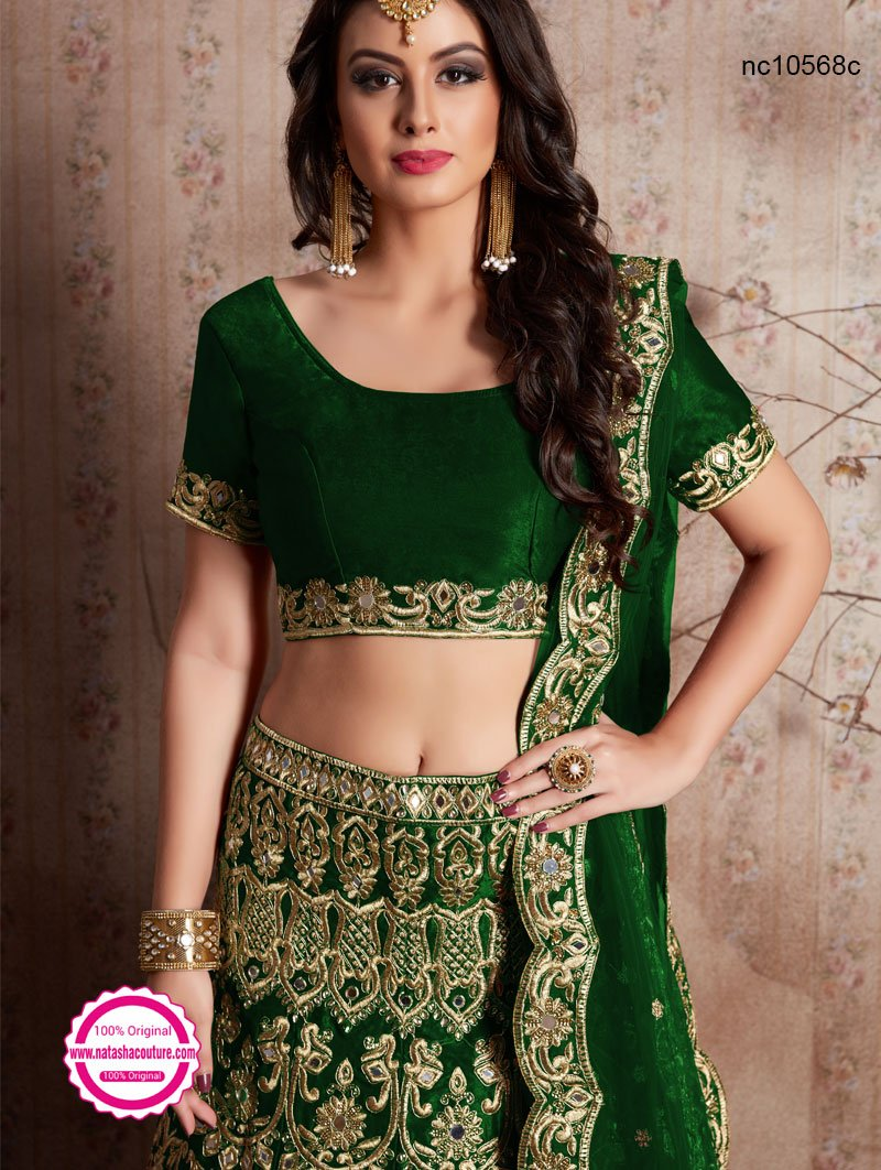 Green Velvet Silk Wedding Wear Lehenga Choli NC10568C