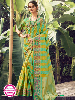 Green & Yellow Silk Saree NC15030