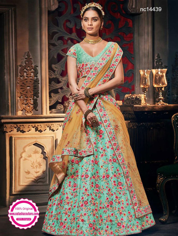 Greenish Blue Handloom Silk Lehenga Choli NC14439