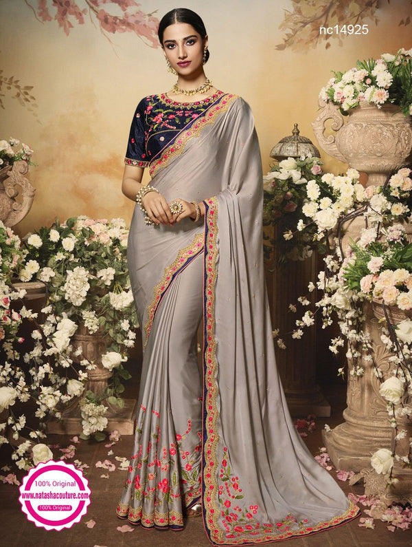Grey Chiffon Satin Saree NC14925