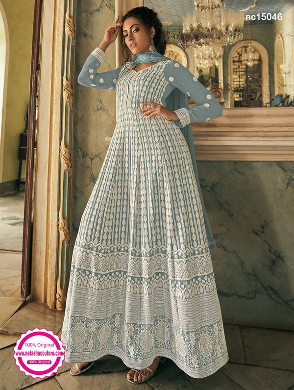 Grey Georgette Anarkali Suit NC15046