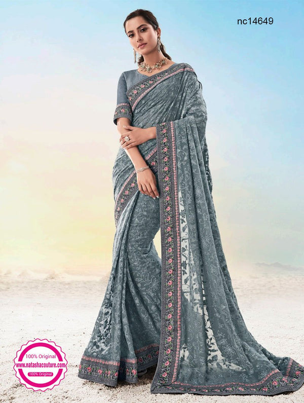 Grey Georgette Lucknowi Saree NC14649