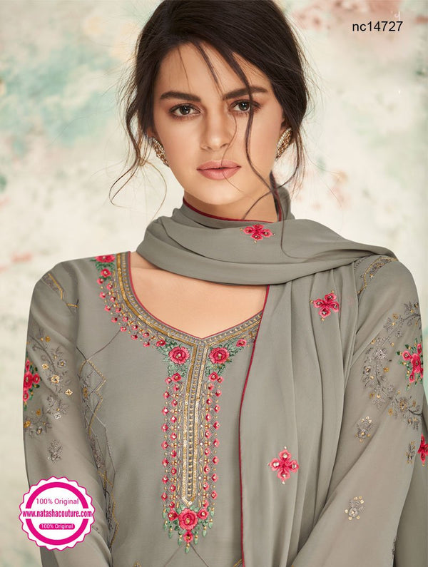Grey Georgette Palazzo Suit NC14727