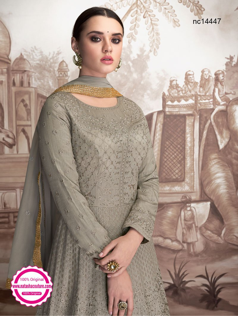 Grey Georgette Readymade Anarkali NC14447