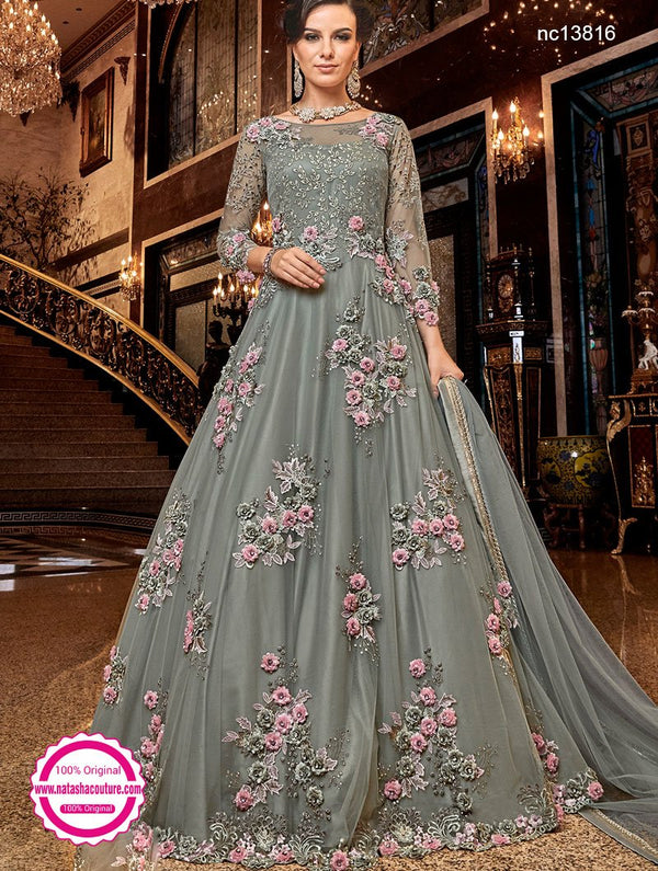 Grey Net Anarkali Suit NC13816