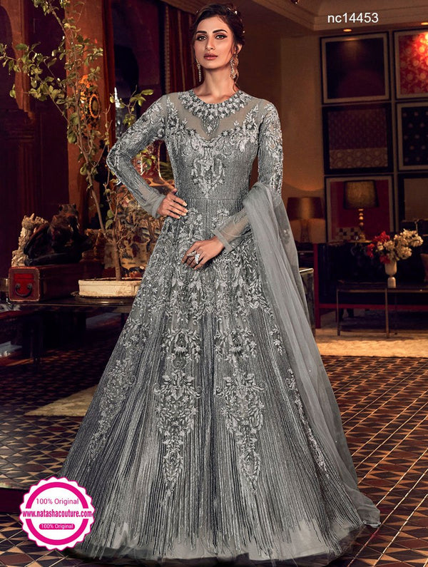 Grey Net Anarkali Suit NC14453