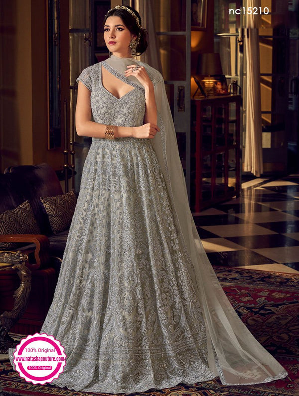 Grey Net Anarkali Suit NC15210