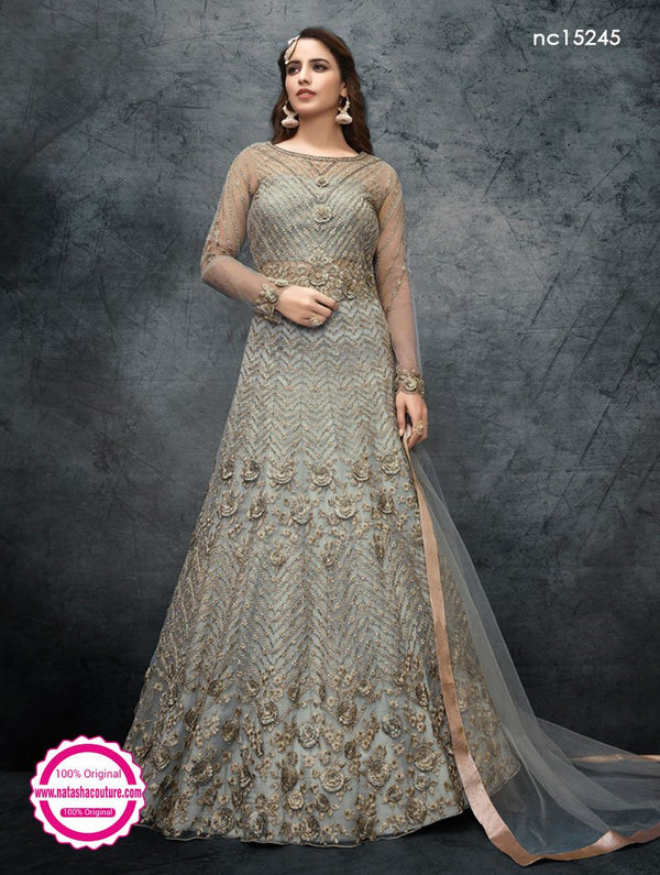 Grey Net Anarkali Suit NC15245