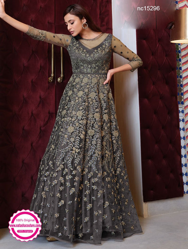 Grey Net Anarkali Suit NC15296
