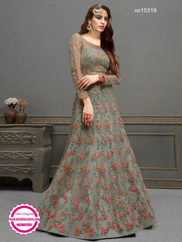 Grey Net & Silk Anarkali Lehenga NC15319