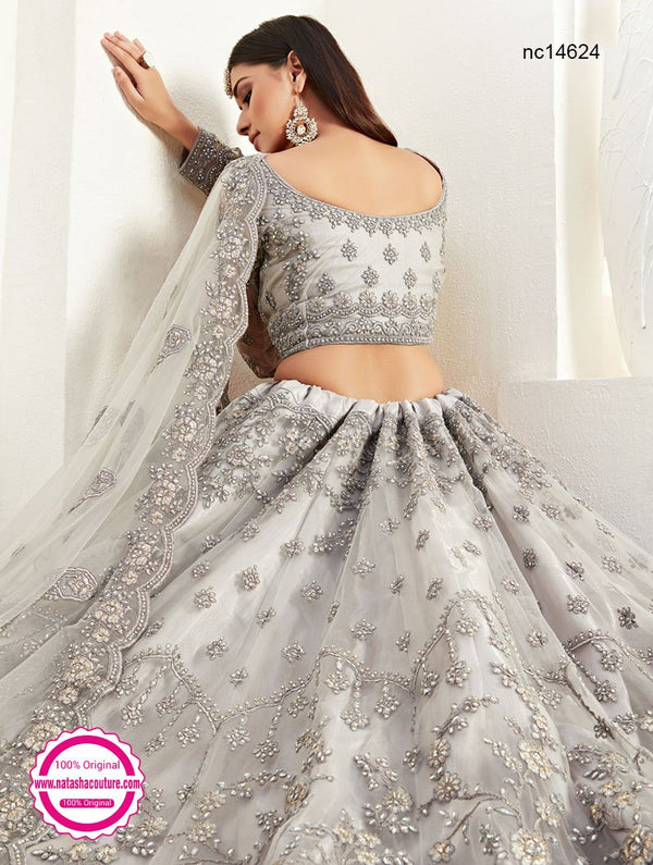 Grey Net Bridal Lehenga Choli NC14624