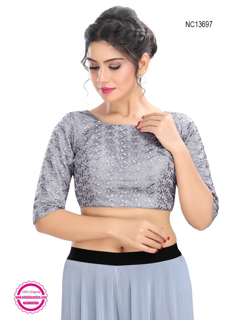 Grey Net Embroidered Readymade Blouse NC13697