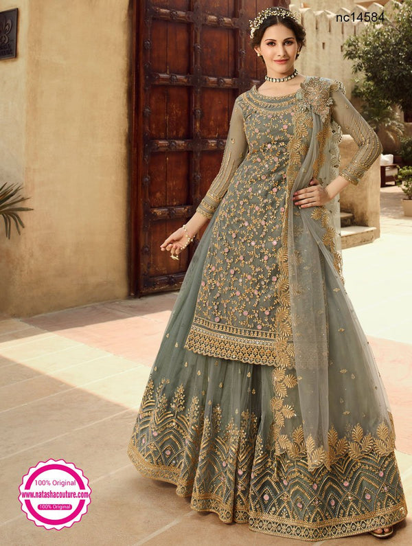 Grey Net Lehenga & Long Top NC14584