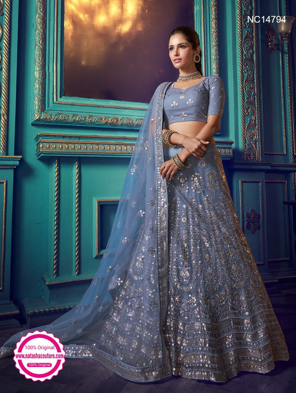 Grey Net Sequins Lehenga Choli NC14794