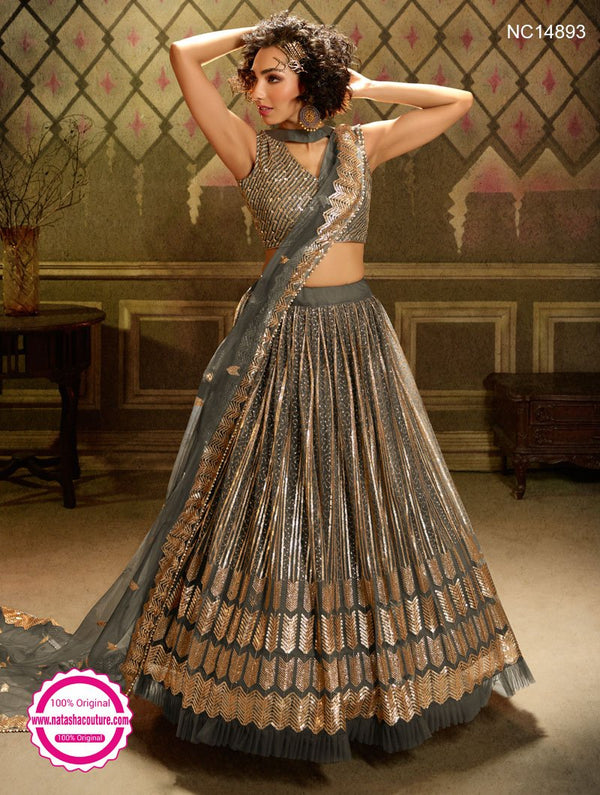 Grey Net Sequins Lehenga Choli NC14893