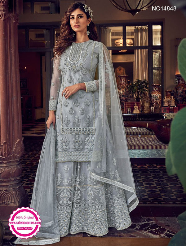 Grey Net Sharara Pants Suit NC14848