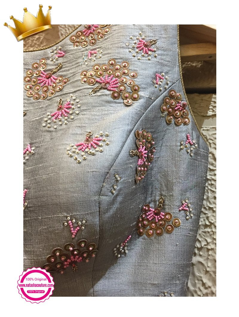Grey Pure Raw Silk Handwork Exclusive Designer Lehenga Choli NR161