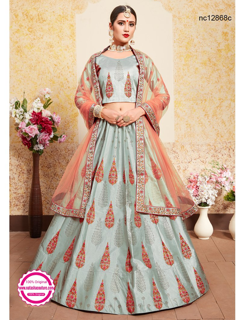Grey Satin Lehenga Choli NC12868C