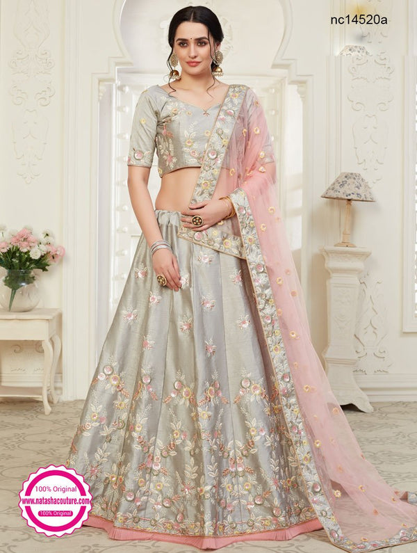 Grey Silk Bridal Lehenga Choli NC14520A