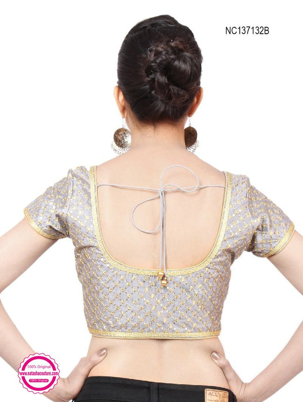 Grey Silk Designer Readymade Blouse NC137132B