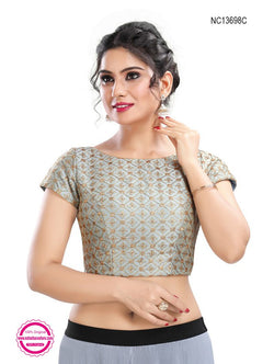 Grey Silk Embroidered Readymade Blouse NC13698C