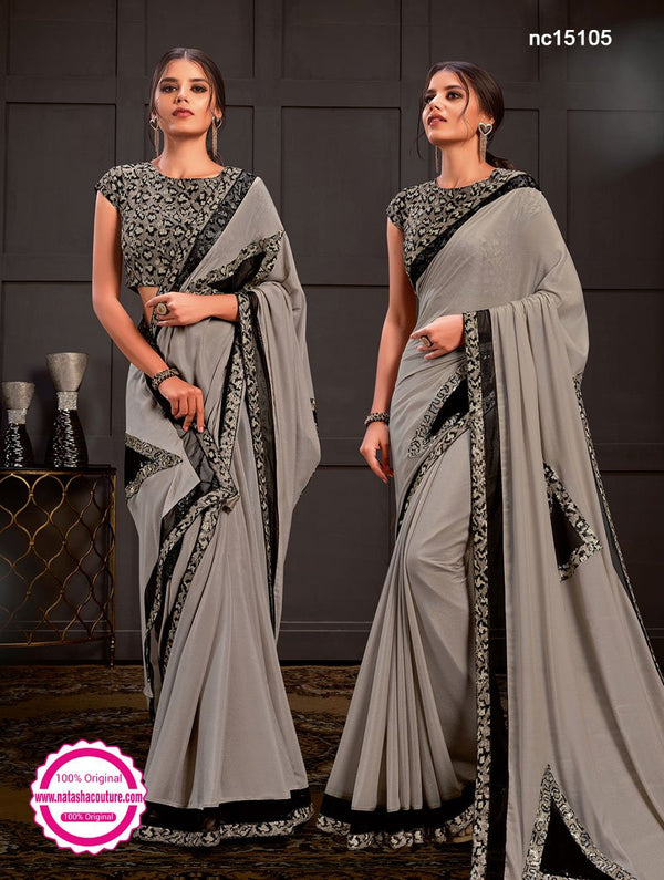 Grey Silk Georgette Saree NC15105