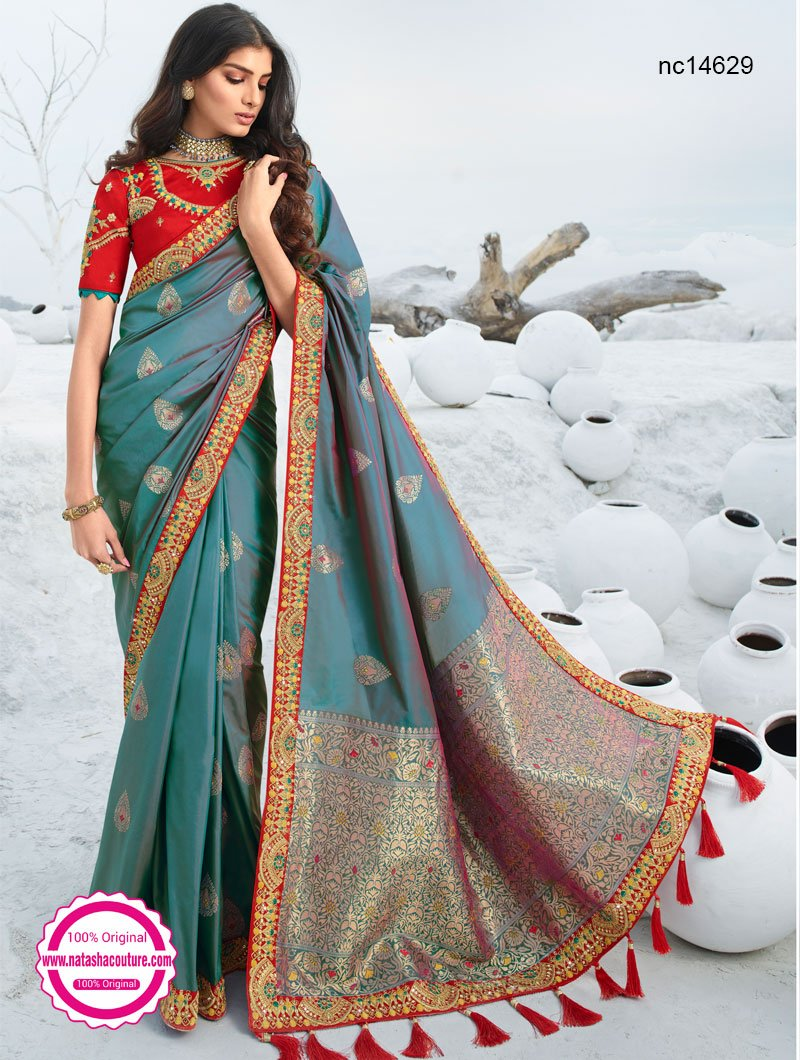 Grey Two Tone Silk Saree NC14629