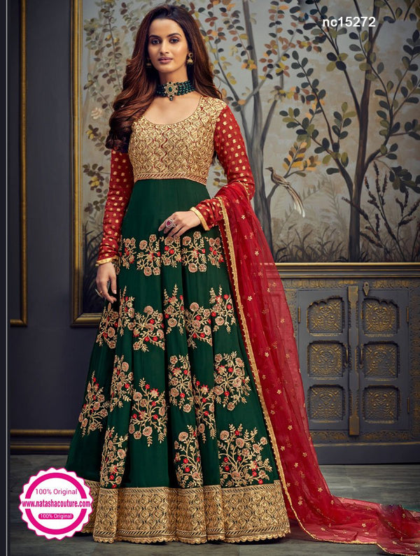 Green Net Anarkali Suit NC15272