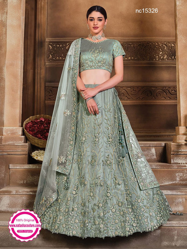 Greyish Blue Net & Satin Silk Lehenga Choli NC15326
